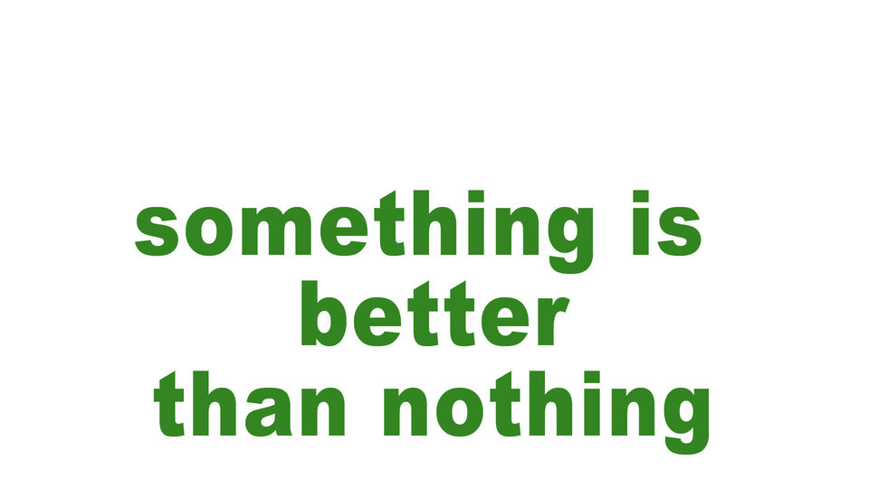 something is better than nothing
